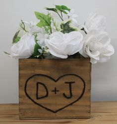 Items similar to 16 Rustic Wedding Wooden Country Barn wood Box Planter Centerpiece Flowers Personalized heart Bride Groom Initials Woodland weddings on Etsy Wooden Box Centerpiece, Flower Centerpieces, Country Barn Weddings, Wedding Country, Rustic Weddings, Woodland Flowers, Card Box Wedding, Wedding In The Woods, Woodland Wedding
