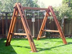 Backyard Fun For Adults Swing Sets 29 Trendy Ideas Playground Swing Set, Backyard Swing Sets, Natural Playground, Backyard Playground, Wood Pergola, Pergola Swing, Pergola Kits, Pergola Ideas, A Frame Swing Set
