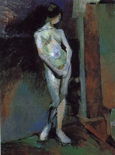 "Henri Matisse 1869-1954  Standing Model/Study in Blue 1900-01  oil on canvas 28¾""x21⅜""  Tate"