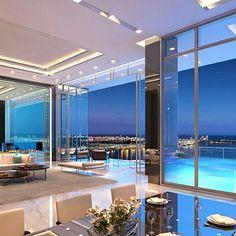 Living Room Goals #modernarchitecture#modernhouse#ledlights#beautiful#view#pool#perfection#love