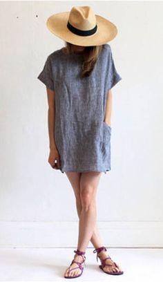 Linen sack dress with deep patch pockets