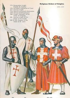 1225-1525 - Religious Order of Knights, 280 Knight (Templar) of the order of the Templars, 281 German knight of the Order of the Sword, 282 & 283 Knights of the Order of St. John - Items held are larger and not to scale for details.