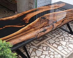 Black and Clear resin Walnut Table – Design – New Epoxy Fabrication Table, Epoxy Wood Table, Wood Tables, Wood Table Design, Resin Furniture, Walnut Table, Slab Table, Traditional Artwork, Clear Resin