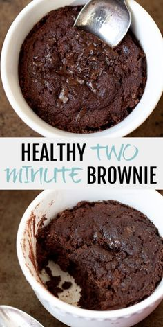 This healthy two minute brownie is so fudgy, moist, and chocolatey that you& never be able to tell it& made without flour, butter, or oil. Healthy Sweets, Healthy Dessert Recipes, Healthy Baking, Easy Desserts, Baking Recipes, Snack Recipes, Healthy Snacks, Quick Dessert, Easy Healthy Deserts