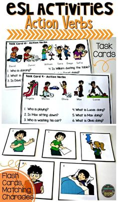 ESL Activities: SO many fun ESL activities for teaching Action Verbs. Use these task cards or matching cards for fun games like Charades or Memory. Vocabulary Activities, Language Activities, Preschool Worksheets, Learning Activities, Teaching Ideas, Teaching Time, Spanish Activities, English Language Learners, German Language