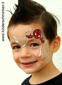 simple and cool spiderman facepaint design that doesn't smear red over the whole face.