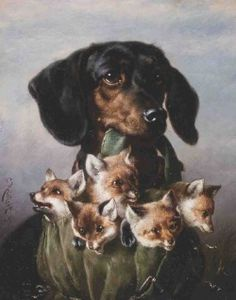 art-and-things-of-beauty:  Carl Reichert (1836-1918) -Dachshund with young foxes, oil on panel, 21 x 17cm. 1895.