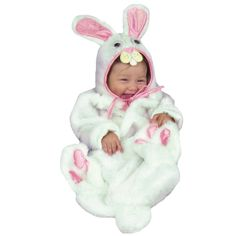 Ricochet Rabbit Bunting Costume - Plush White faux fur bunting with attached feet and tail comes with separate character headpiece, both with pink accents.  Back Velcro opening for easy diaper changes!  Available in one size, 0-6 months.  Made from Acrylic and Polyester.  Manufacturer's suggested washing instructions included. 0-6 Months.