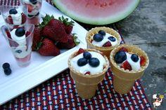 Fruit parfaits in cones