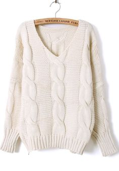 ++ Beige Batwing Long Sleeve V-neck Cable Sweater