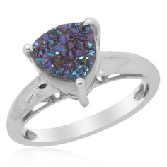 Available @ trendtrunk.com Unique Caribbean Blue Drusy Quartz Solitaire Ring. Jewellery by STRanger Selections. Only $167.00!