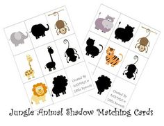 animal shadow matching cards and a link for animal pattern cards