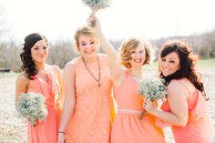 coral bridesmaid dresses  | photo by Anna Jaye | 100 Layer Cake