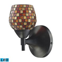 Celina 1 Light LED Sconce In Dark Rust And Multi Fusion Glass 10150/1DR-MLT-LED