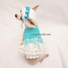 Eastwr Dog Costume, Dog Bridesmaid Dress with Crochet Dog Hat by Myknitt #chihuahua #crochetdoghat #easterdogcostume #dogbridesmaiddress https://www.etsy.com/listing/599861755/easter-dog-costume-dog-bridesmaid-dress
