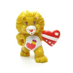 Brave Heart Lion Vintage Care Bears Cousin PVC Miniature Figurine with Red Valentine Hearts