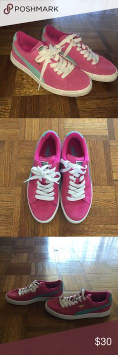Puma's Pink and turquoise Pumas, worn once, size 5.5 Puma Shoes Sneakers