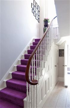 Inside Majeda Clarke's north London home, her Asian hertiage has inspired the bold, bright colours like the purple on this staircase Purple Home Decor, Purple Interior, Interior Exterior, Interior Design, Room Interior, Hallway Colours, Purple Carpet, Hallway Decorating, Decorating Ideas