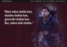 Here the list of 14 Yeh Jawaani Hai Deewani dialogues you should check out. Amazing Yeh Jawaani Hai Deewani quotes to remember. Love Song Quotes, Crazy Quotes, Girl Quotes, Movie Quotes, True Quotes, Hindi Shayari Inspirational, Inspirational Movies, Hindi Quotes, Qoutes