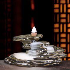 Porcelain Ceramic Backflow Incense Burner Holder + 5 backflow incense cones