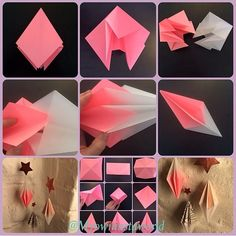 #diy #doityourself #origami #origamidiy #myowninstadiy #origamiprism #diamond #origamidiamond #paperart #homedecoration #indretning #boligindretning #bolig #krea #kreamig #beautiful 3d Paper Crafts, Scrapbook Paper Crafts, Diy Paper, Diy And Crafts, Christmas Crafts, Painted Christmas Ornaments, Christmas Deco, Origami Diy, Christmas Origami