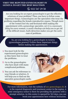 Visit The Reputed Gynecologist In Geneva To Get The Best Solution Geneva, How To Get, Good Things, Health, Health Care, Healthy, Salud