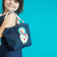 GIRLS BAG Russian doll denim by wildthingsdresses on Etsy