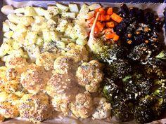 Ofengemüse vegetarisch: einfaches lowcarb Rezept mit Parmesan, Olivenöl-Mandel-Estragon-Mischung. Knackiges Gemüse im Ofen gegart. Nährwerte hier!