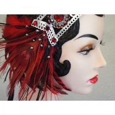 Wedding - Lady Is A Vamp - Bejeweled Peacock Feather Flapper Headband in Ruby Red,