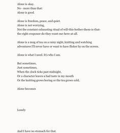 Hannah's Poetry - alone is okay...
