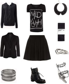 "[Requested by Anonymous] Outfit inspired by Super Junior Kyuhyun in Henry's ""Trap"" More Outfit on I Dress Kpop Get The Look : Black Hoodie Black Blazer Silver Bracelets Wild Youth Shirt Black Skirt Boots Collar Tights Silver midi Ring Double Charm Ring"