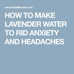 HOW TO MAKE LAVENDER WATER TO RID ANXIETY AND HEADACHES