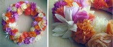 Pretty paper flowers wreath.  Paper Flowers are Rose, Lily, Dahlia and Daisy.  Tutorial