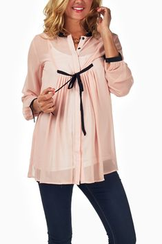 Pink-Sheer-Chiffon-Maternity-Blouse #maternity #fashion