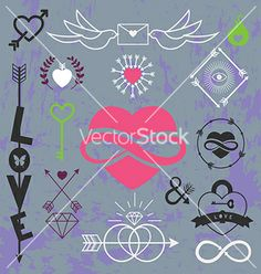 Romantic set vector by cyberok on VectorStock®