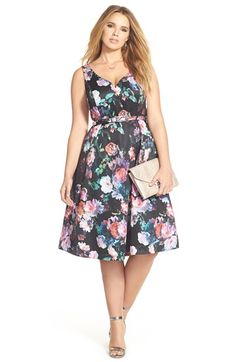Plus Size Floral Fit & Flare Dress