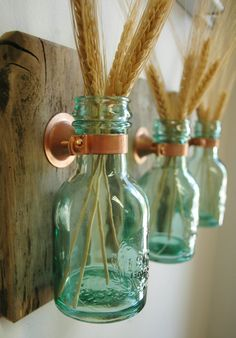 1868 Green Honey Bottles each mounted on Recycled wood for unique rustic wall decor bedroom decor kitchen decor