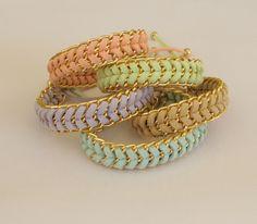Pastel sorbet - handwoven stacking summer bracelet in mint peach beige lavender or lime