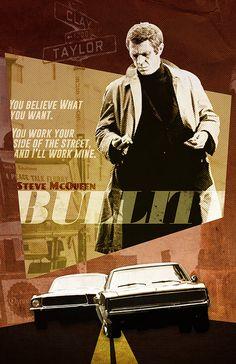 Bullitt Steve McQueen alternative poster by TheCelluloidAndroid