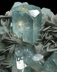 Aquamarine with Pink Apatite - Nagar, Hunza Valley, Gilgit District, Northern Areas, Pakistan