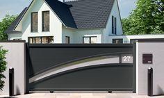 Portail alu coulissant I-800 Fence Wall Design, Front Gate Design, Steel Gate Design, House Gate Design, Main Gate Design, Window Grill Design, Door Gate Design, Gate House, Gate Designs Modern