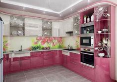 Purple And Pink Kitchen Designs, That Will Amaze All Ladies ~ Decor Name Kitchen Cupboard Designs, Charming Kitchen, Kitchen Decor, Kitchen Cabinet Styles, Kitchen Room Design, Kitchen Furniture Design, Cupboard Design, Modern Kitchen Design, Pink Kitchen Designs