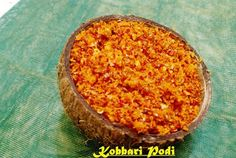 Kobbari Podi - Simple Spicy Powder in Andhra Style