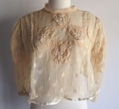 Cream Crochet & Lace Cropped Blouse