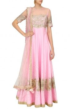 Neha Saran Pink Floral Embroidered Anarkali Set with Shaded Dupatta #happyshopping #shopnow #ppus