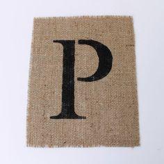 SALE. Letter P alphabet wall decor on burlap - stencil font