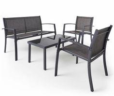 patio furniture 4 piece dining bistro set garden table u0026 chairs grey textoline