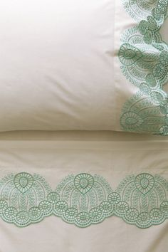 Eyelet Embroidered Sheet Set #anthropologie. Beautiful detail to these sheets!  #Anthropologie #PinToWin