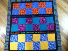 Warm - Cozy - Fun  Colorful quilt, hand & machine stitched