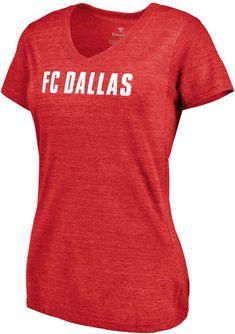 best service 9844b 938be MLS Women s FC Dallas Wordmark Tri-Blend Red V-Neck T-Shirt